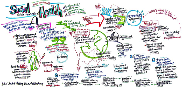 Graphic representation of the Social Determinants of Health Panel created by Graphic Facilitator Julie Stuart.